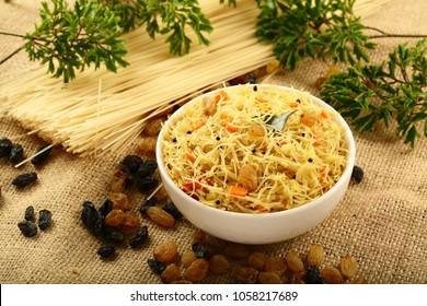 Delicious Indian breakfast - upma ,vegan, vegetarian food dish.