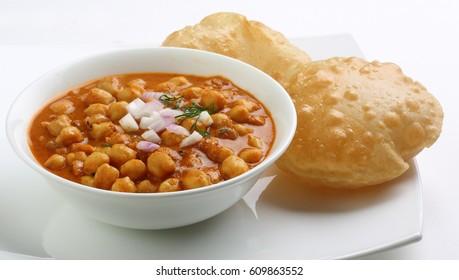Delicious Indian Chana masala and puri