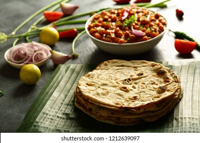 Delicious Indian vegan  cuisine- phulka roti served with tasty channa masala