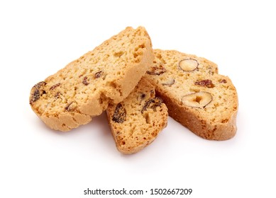 Delicious Italian cantuccini cookies, biscotti, isolated on white background.