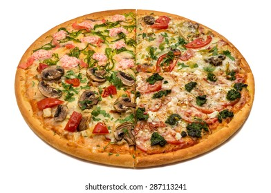 Delicious italian pizza with meat, vegetables & cheese 4 seasons isolated on white background