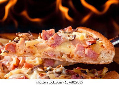 Delicious italian pizzas served on oven