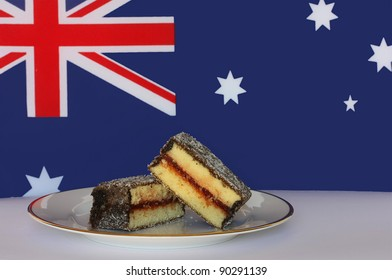 Delicious jam-filled lamington, a traditional Australian cake, with Australian flag background