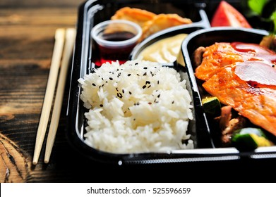 Delicious Japanese bento box ready to eat