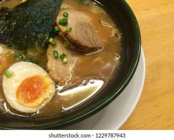 Delicious Japanese ramen noodle serve on vintage bowl