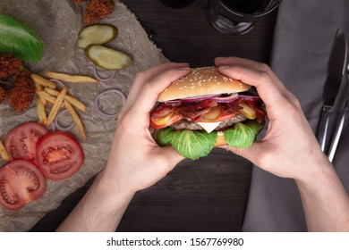 delicious juicy Burger with meat cutlet
