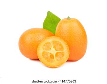 Delicious and juicy kumquat fruit on a white background