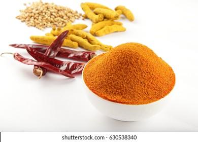 Delicious Karnataka sambar dish spice powder.