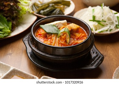 Delicious kimchi stew  in a hot pot
