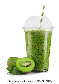 Delicious kiwi milkshake in plastic cup isolated on white