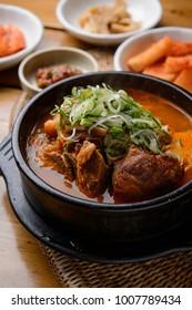 Delicious korea style soup in a bowl