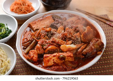 Delicious Korean-style braised pollack  on a plate