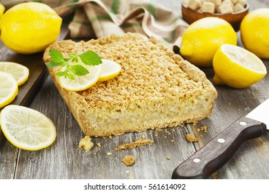 Delicious lemon pie with  short pastry on the table
