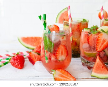 Delicious lemonade / cocktail with fresh strawberries and water melon