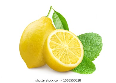 Delicious lemons with mint leaves, isolated on white background