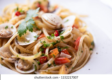 Delicious linguine pasta in a clams sauce close up