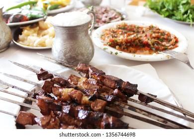 Delicious liver and salads, Adana Mersin