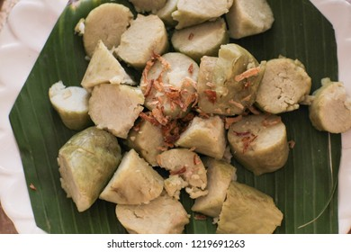 Delicious Lontong with fried Onion - Indonesian Traditional Food