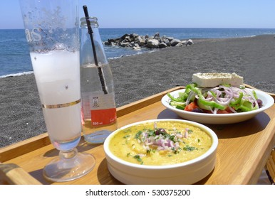 Delicious lunch, fava specialty from Santorini, Greece