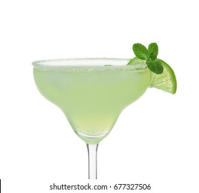 Delicious margarita cocktail on white background