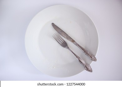 It was a delicious meal. Everything was eaten. It was tasty! Empty plate.