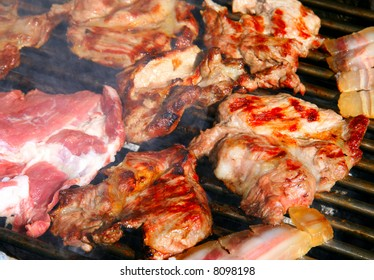 Delicious meat on a bbq