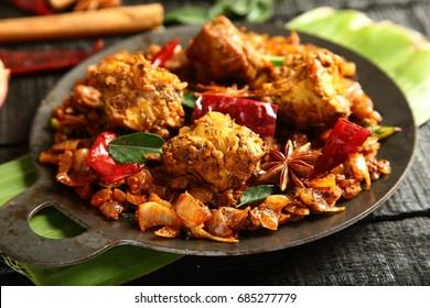 Delicious meat pepper roast dry fry- Indian traditional food.