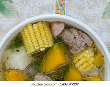 Delicious meat soup as is prepared in Panama. The ingredients are a combination of meat, yam, pumpkin, cassava, potato, corn on the cob, oregano leaves, onion, garlic, celery and sweet pepper.