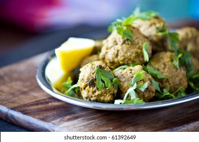 Delicious meatballs in natural light with shallow dof