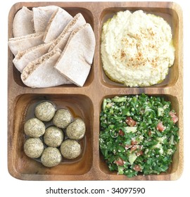 delicious Mediterranean food: pita bread, hummus, tabouleh, and pickled shankleesh