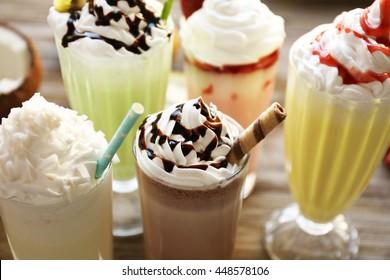 Delicious milkshakes, closeup