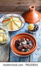Delicious Moroccan tajine with beeef, prunes, raisins, figs and almonds