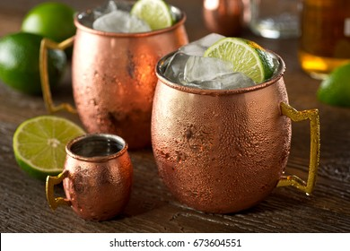 A delicious moscow mule cocktail with vodka, ginger beer, lime juice and ice.
