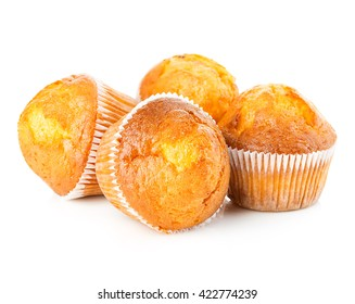 Delicious muffins close-up isolated on white background.