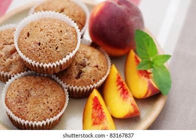 delicious muffins with fresh peaches - sweet food
