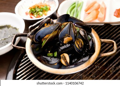 Delicious Mussel Soup in a hot pot