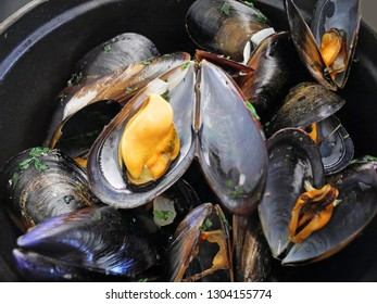 delicious mussels cooked in the shells with parsley closeup background