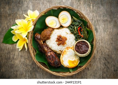 A delicious Nasi Campur, Indonesian food