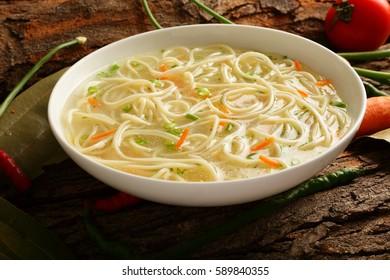 Delicious  noodles in broth -Healthy food concept