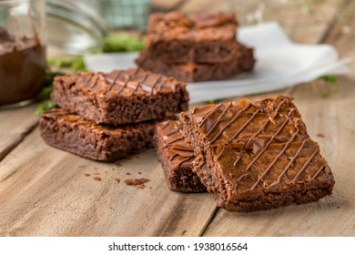 Delicious nutella Brownies closeup Shoot view. Image