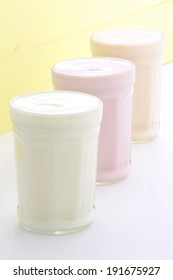 Delicious, nutritious and healthy fresh yogurt on vintage wood.
