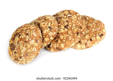 Delicious oatmeal cookies isolated on white background