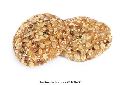 Delicious oatmeal cookies isolated on white