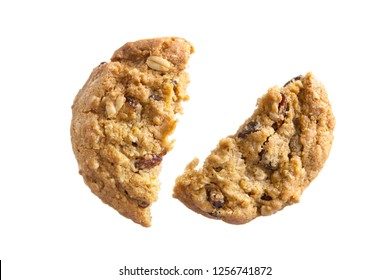 Delicious oatmeal raisin cookies with chocolate broken isolated on white background