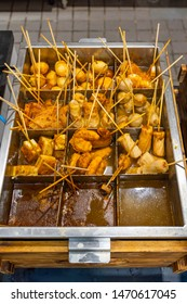 Delicious oden Japanese cuisine with meat balls stick in soup