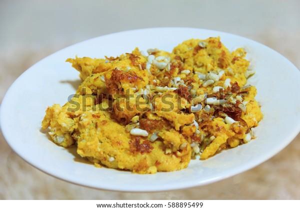 delicious omlet food thai on white dish