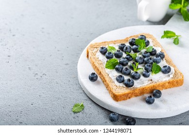Delicious open sandwich with goat cheese and blueberries for breakfast or lunch on marble board. Food background with copy space.