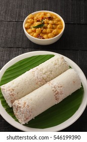 Delicious organic white rice puttu from South Indian cuisine,