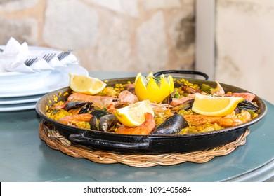 delicious paella in Majorca beach restaurant