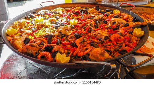 Delicious paella at a market stall in Lyon